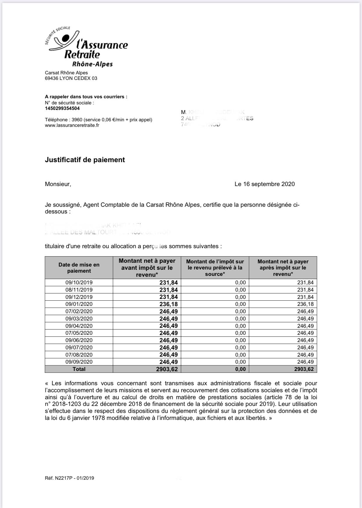 Titre de pension de retraite